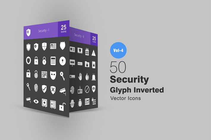 Thumbnail for 50 Security Glyph Inverted Icons