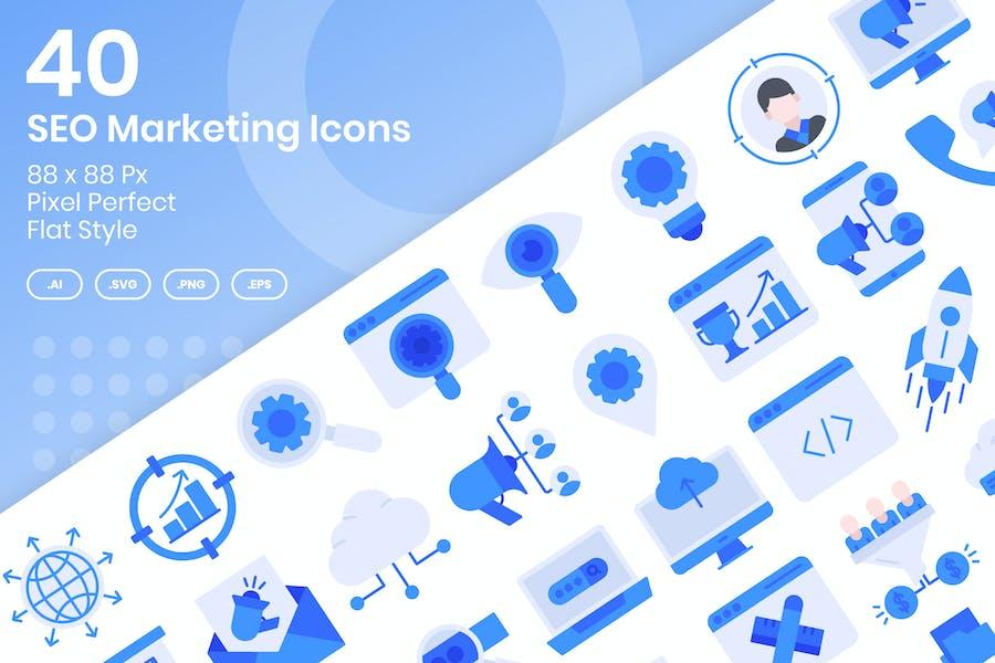 40 SEO Marketing Icons Set - Flache Bauform