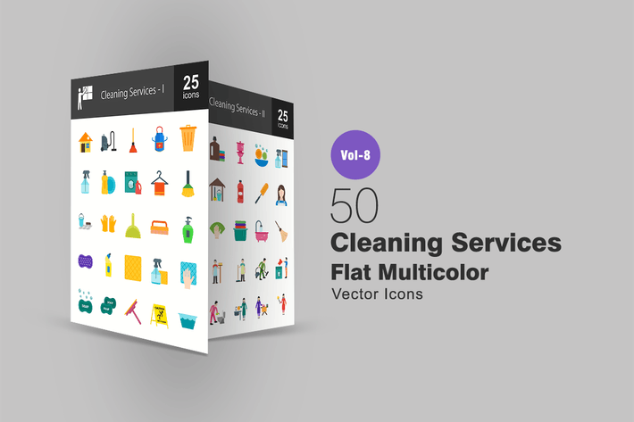 Cover Image For 50 Cleaning Services Flat Multicolor  Icons