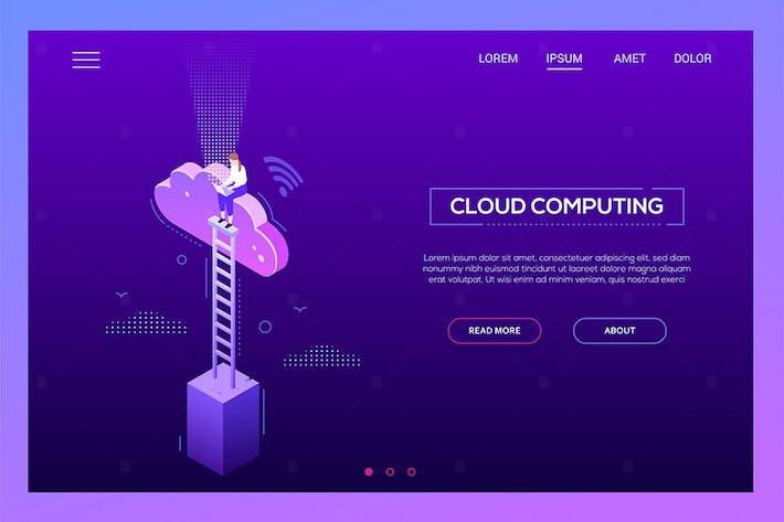 Thumbnail for Cloud computing - modern isometric website header