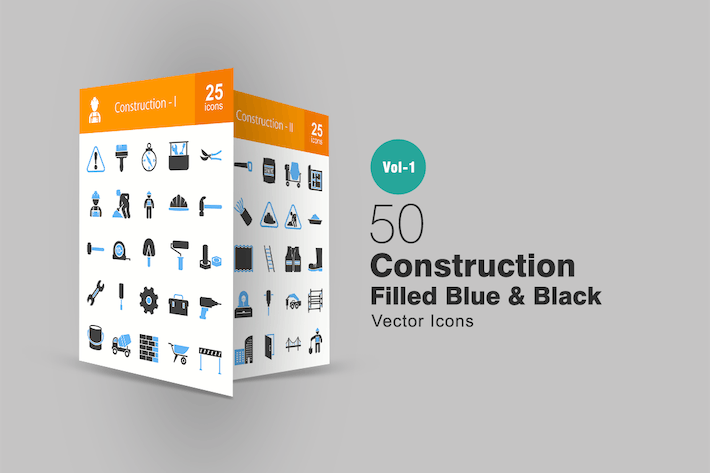 Thumbnail for 50 Construction Blue & Black Icons