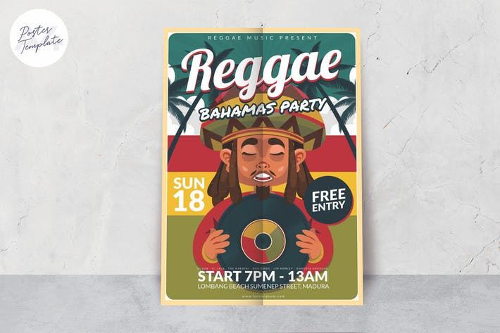 Thumbnail for Reggae Party Poster Template
