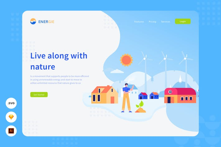 Thumbnail for Live With Nature - Website Header - Illustration