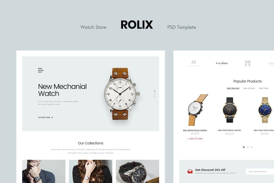 Rolix - Minimalist Watch Store PSD Template
