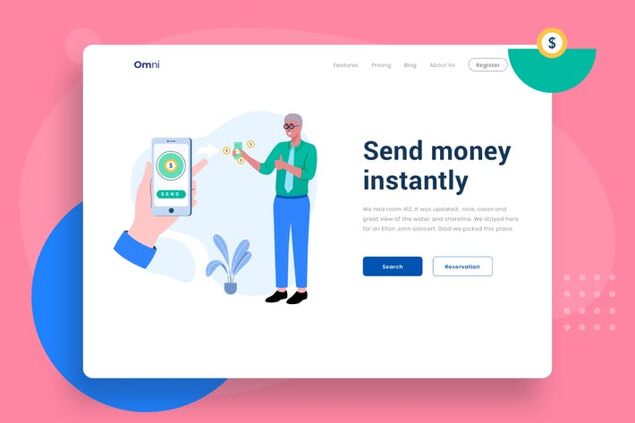 Send money instantly Illustration