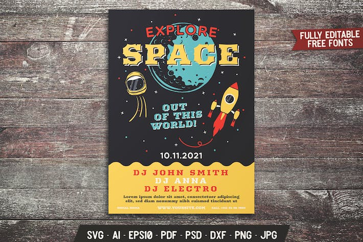 Explore Space Retro Flyer