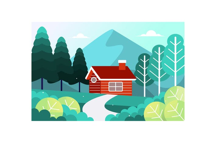 Thumbnail for Red wooden house at mountain