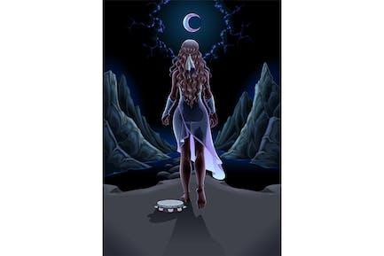 Girl Walking Alone in the Night