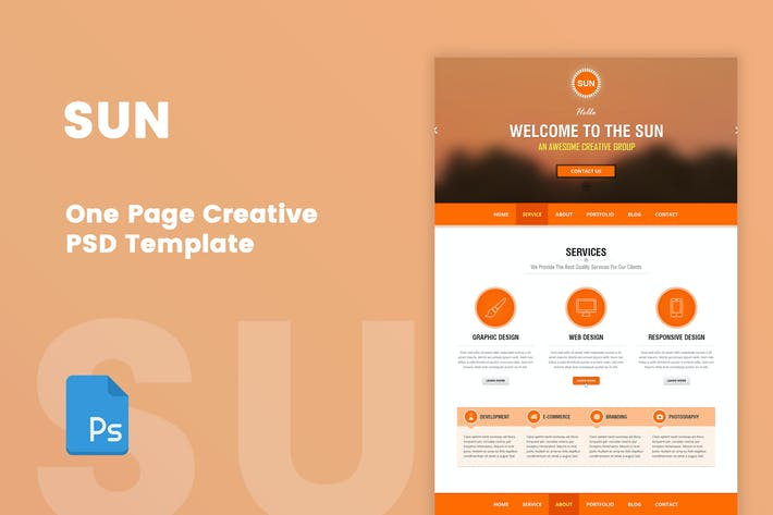 Thumbnail for SUN - One Page Creative Portfolio PSD Template