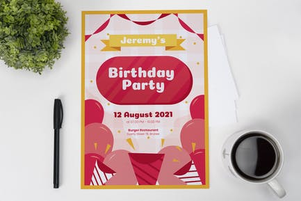 Baloon Birthday Invitation