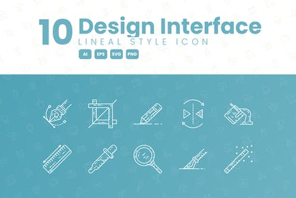 10 Design Interface Detailed Icon Collection