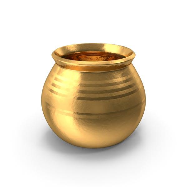 Gold Keramiktopf mit Vollkornweizen