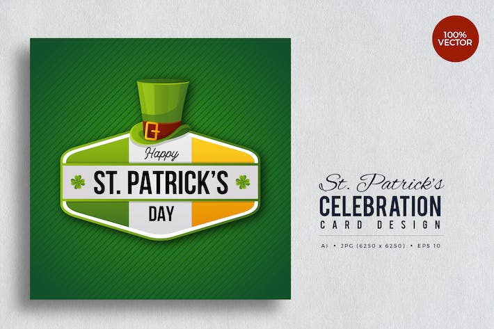 Thumbnail for St. Patrick's Day Square Vector Card Vol.6