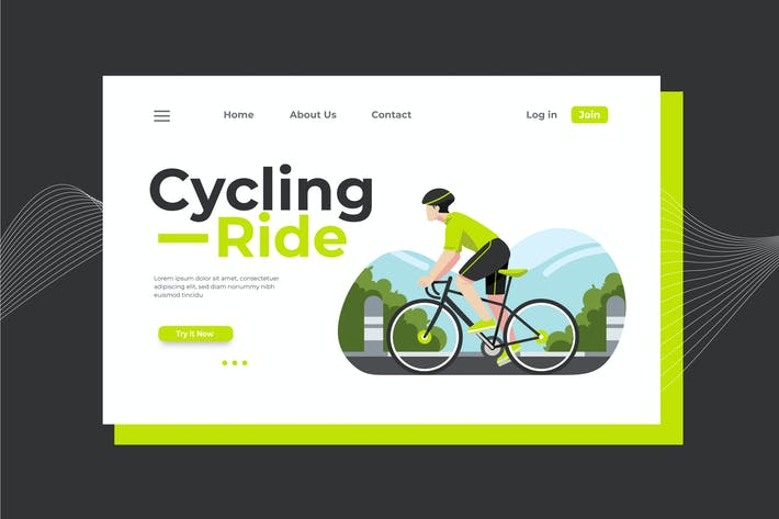 Thumbnail for Cycling Ride Landing Page Illustration