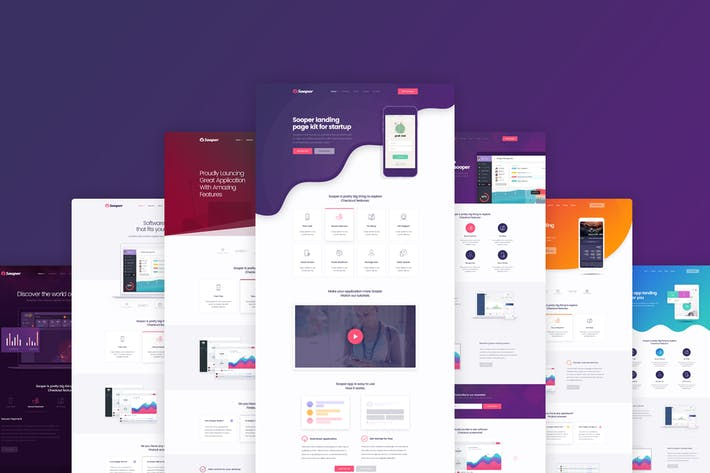 Thumbnail for Sooper - Mobile App Showcase PSD Template