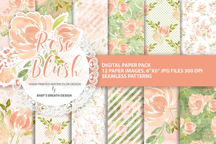 Thumbnail for Rose Blush digital paper pack