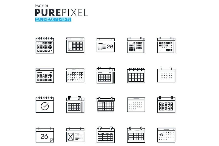 Calendario y eventos Pixel Perfect Íconos