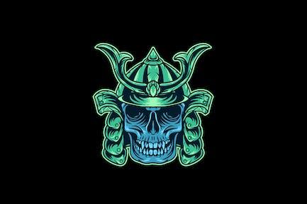 skull samurai head illustration