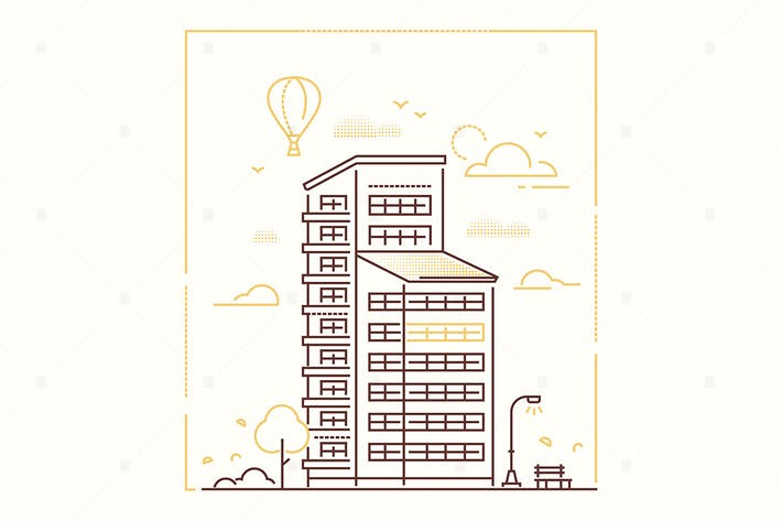 Cover Image For City building - line design style illustration