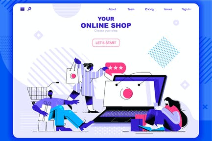 Online Shopping Flat Concept Landing Page Header