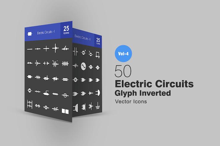 Thumbnail for 50 электрических цепей глиф инвертированные Иконки