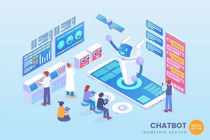 Thumbnail for Isometric Chatbot Vector Concept Illustration