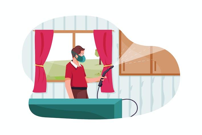 Thumbnail for Der Reiniger desinfiziert den Raum