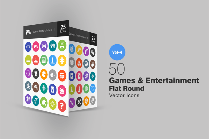 Thumbnail for 50 Games & Entertainment Flat Round Icons