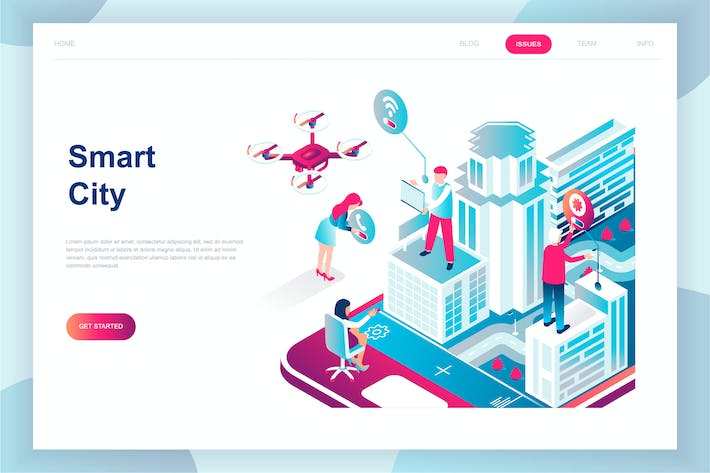 Thumbnail for Smart City Isometric Landing Page