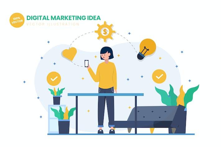 Thumbnail for Digital Marketing Idea Flat Vector Illustration