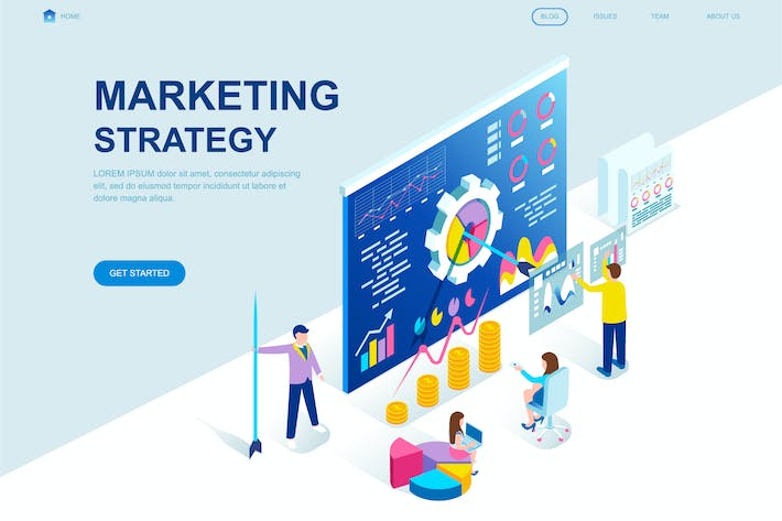 Thumbnail for Marketing Strategy Isometric Landing Page Template