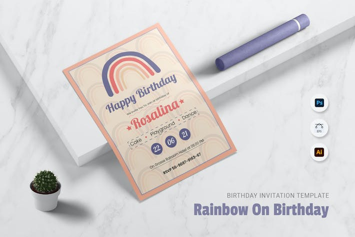 Thumbnail for Rainbow On You Birtday Invitation