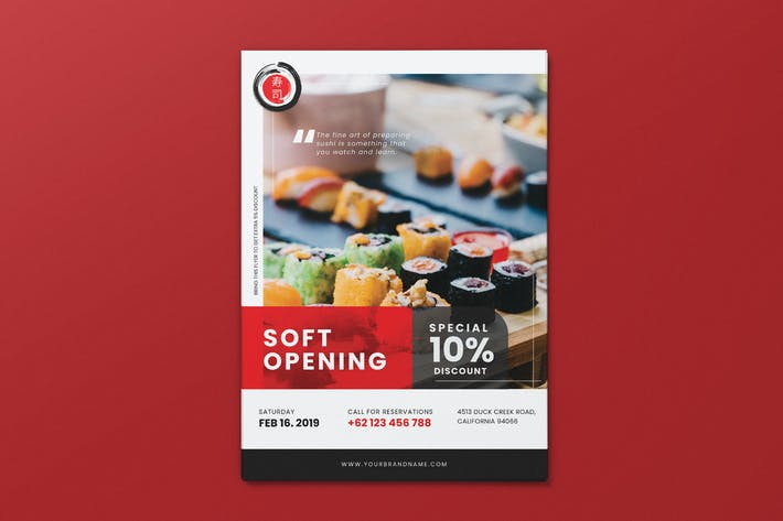Thumbnail for Japanese Restaurant Soft Opening AI and PSD Flyer