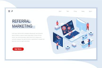 Referral Marketing Isometrische Banner Flat Concept
