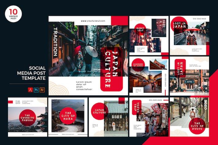 Thumbnail for Japan Travelling Social Media Kit PSD & AI