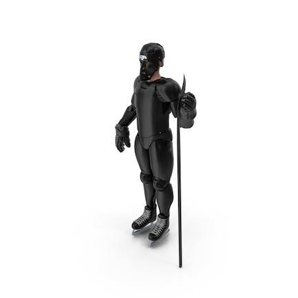Humanoid Hockeyspieler mit Stock Schwarz