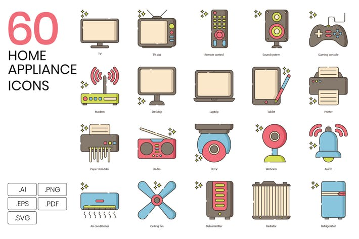 60 Home Appliance Icons | Hazel Series