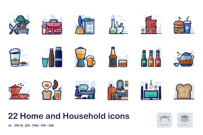 Thumbnail for Home and household filled outline icons