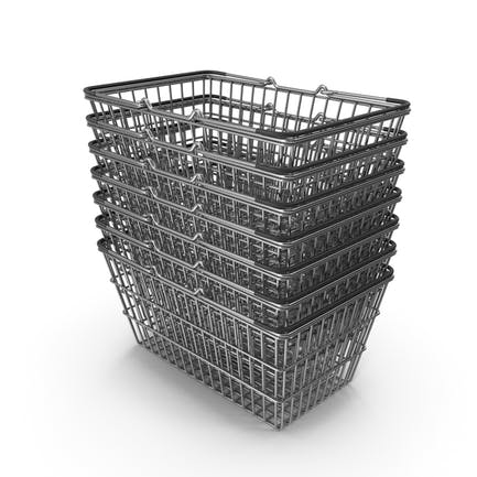 Stapel von Supermarkt-Körben mit schwarzem Kunststoff