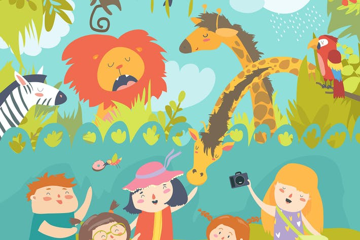 Thumbnail for Happy children in zoo with wild african animals.