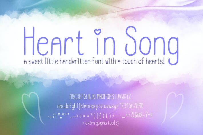 Thumbnail for Heart in Song | Cute Handwriting Font with Hearts