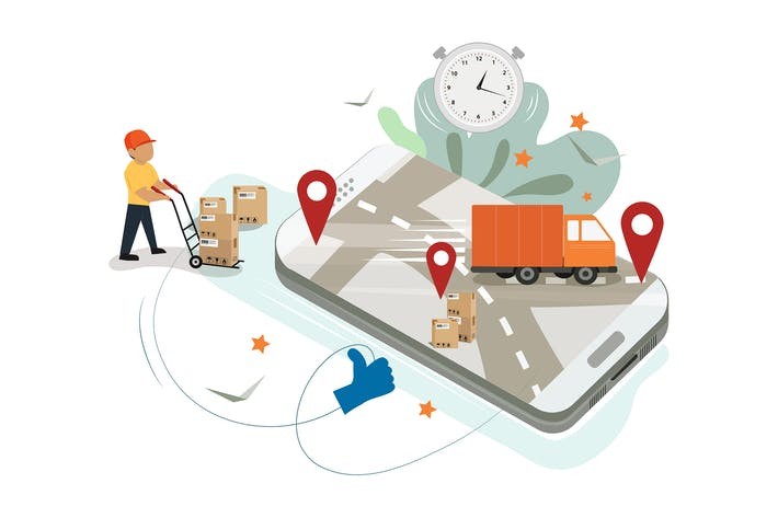 Delivery logistics concept with smartphone