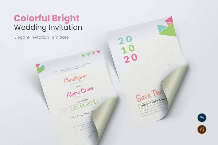 Thumbnail for Colorful Bright Wedding Invitation