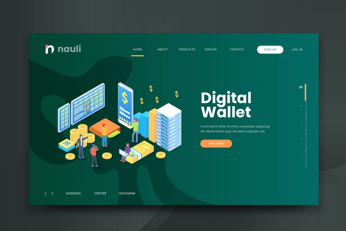 Thumbnail for Isometric Digital Wallet Web PSD and AI Vector