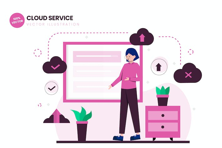 Thumbnail for Cloud Service Flat Vector Illustration