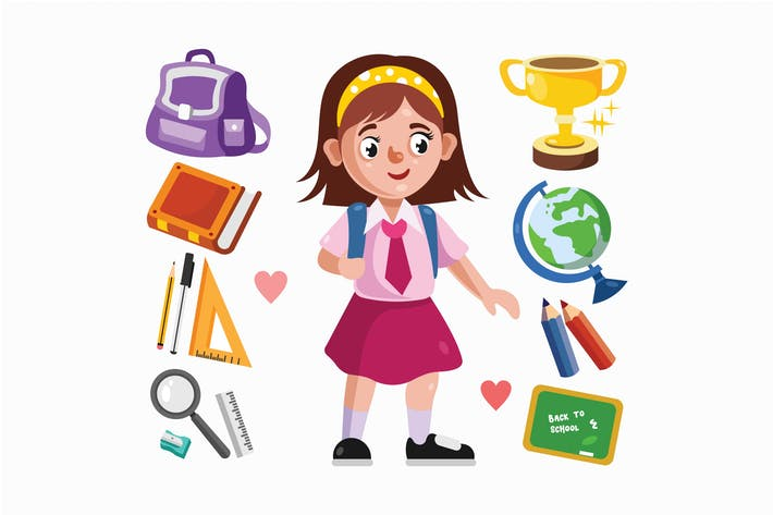 Girl Student and School Supplies Illustration