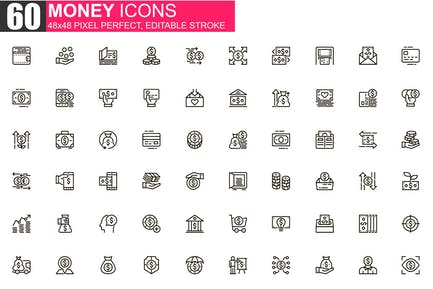 Money Thin Line Icons Pack