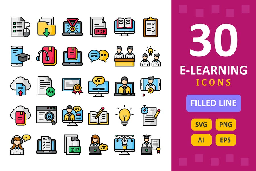 30 E-Learning Icons - gefüllte Linie
