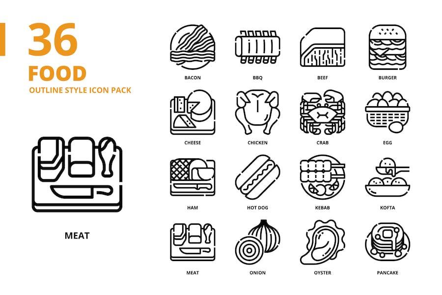 Lebensmittel Gliederung Stil Icon Set