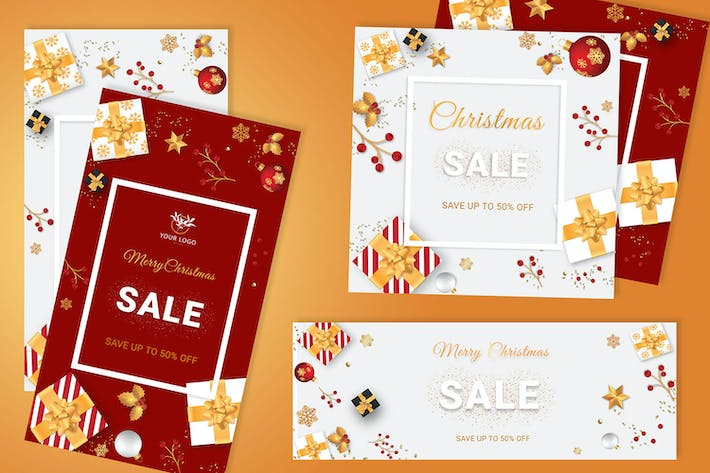 Thumbnail for Christmas Sale Banner In White , Red Background